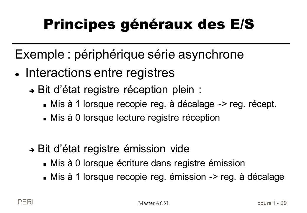 PERI Master ACSI cours 1 - 29 Principes généraux des E/S Exemple : périphérique série asynchrone l Interactions entre registres è Bit détat registre r