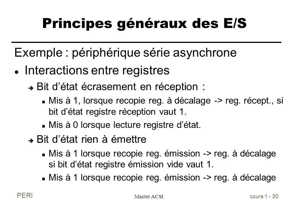 PERI Master ACSI cours 1 - 30 Principes généraux des E/S Exemple : périphérique série asynchrone l Interactions entre registres è Bit détat écrasement