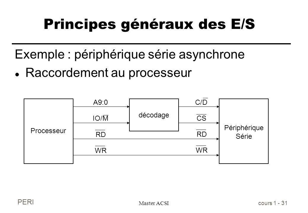 PERI Master ACSI cours 1 - 31 Principes généraux des E/S Exemple : périphérique série asynchrone l Raccordement au processeur Processeur décodage Péri