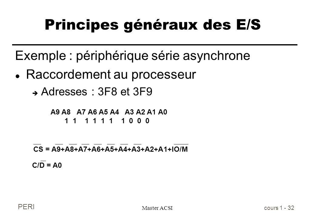 PERI Master ACSI cours 1 - 32 Principes généraux des E/S Exemple : périphérique série asynchrone l Raccordement au processeur è Adresses : 3F8 et 3F9