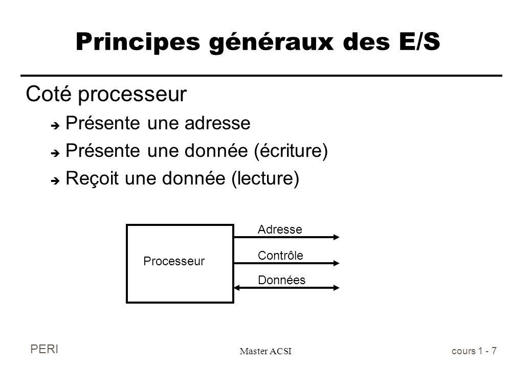 PERI Master ACSI cours 1 - 7 Principes généraux des E/S Coté processeur è Présente une adresse è Présente une donnée (écriture) è Reçoit une donnée (l