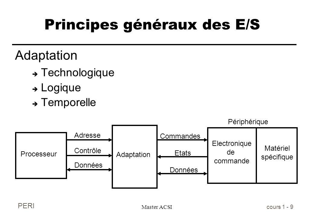PERI Master ACSI cours 1 - 9 Principes généraux des E/S Adaptation è Technologique è Logique è Temporelle Electronique de commande Processeur Adresse