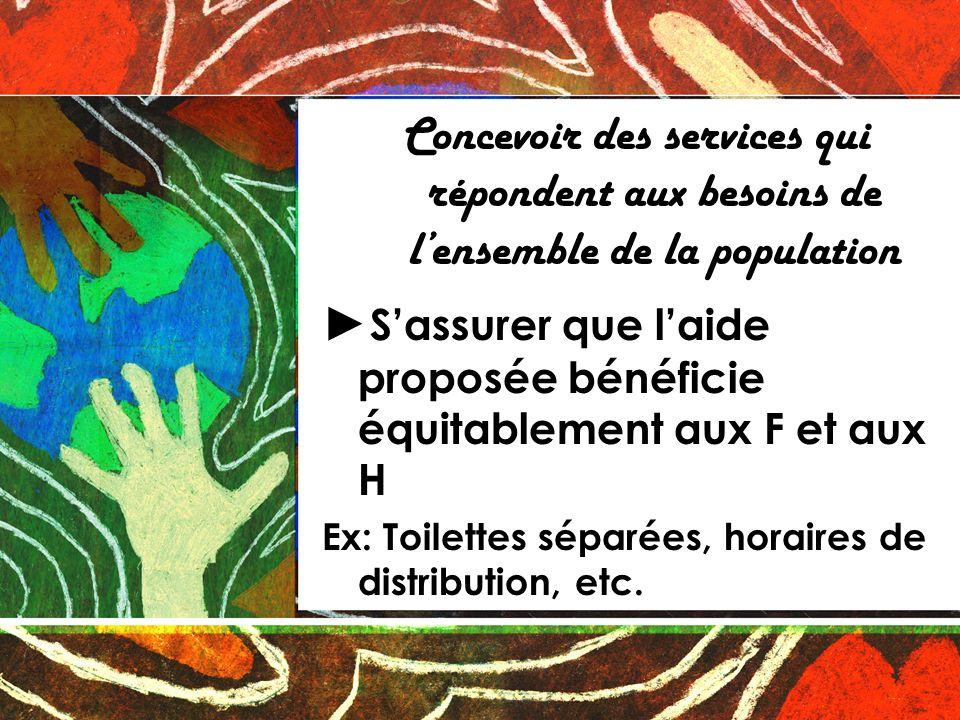 Concevoir des services qui répondent aux besoins de lensemble de la population Sassurer que laide proposée bénéficie équitablement aux F et aux H Ex: Toilettes séparées, horaires de distribution, etc.