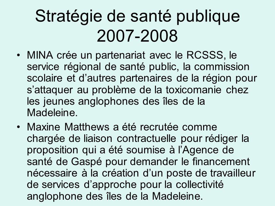Stratégie de santé publique 2007-2008 MINA crée un partenariat avec le RCSSS, le service régional de santé public, la commission scolaire et dautres partenaires de la région pour sattaquer au problème de la toxicomanie chez les jeunes anglophones des îles de la Madeleine.