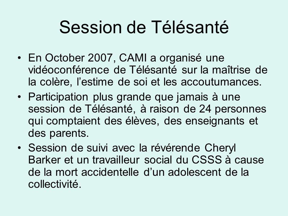 Session de Télésanté En October 2007, CAMI a organisé une vidéoconférence de Télésanté sur la maîtrise de la colère, lestime de soi et les accoutumances.