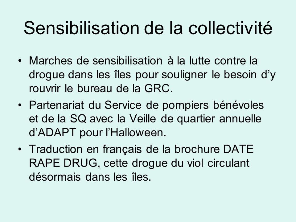 Sensibilisation de la collectivité Marches de sensibilisation à la lutte contre la drogue dans les îles pour souligner le besoin dy rouvrir le bureau de la GRC.