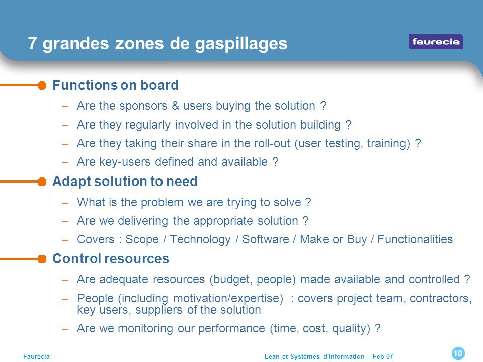 10 Faurecia Lean et Systèmes d'information – Feb 07 7 grandes zones de gaspillages Functions on board –Are the sponsors & users buying the solution ?