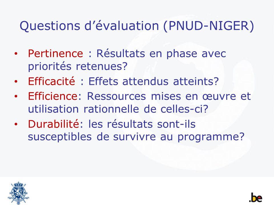 Questions dévaluation (PNUD-NIGER) Pertinence : Résultats en phase avec priorités retenues? Efficacité : Effets attendus atteints? Efficience: Ressour