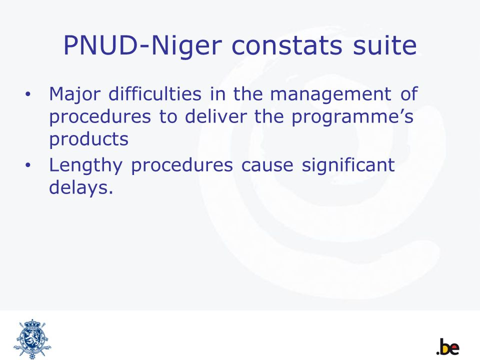 PNUD-Niger constats suite Major difficulties in the management of procedures to deliver the programmes products Lengthy procedures cause significant delays.