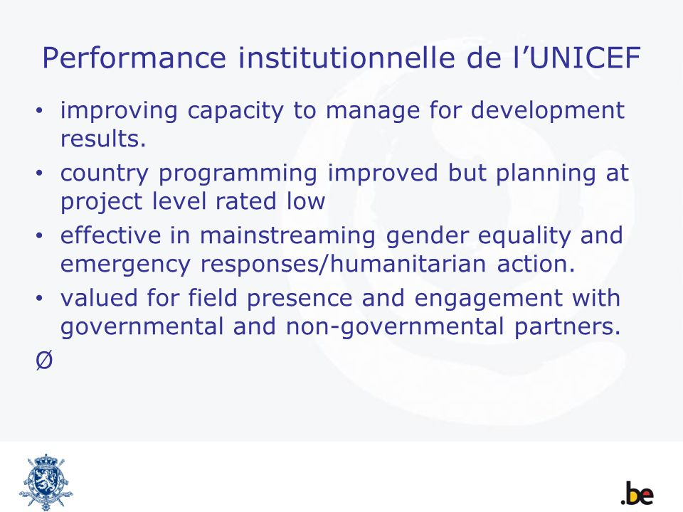 Performance institutionnelle de lUNICEF improving capacity to manage for development results.