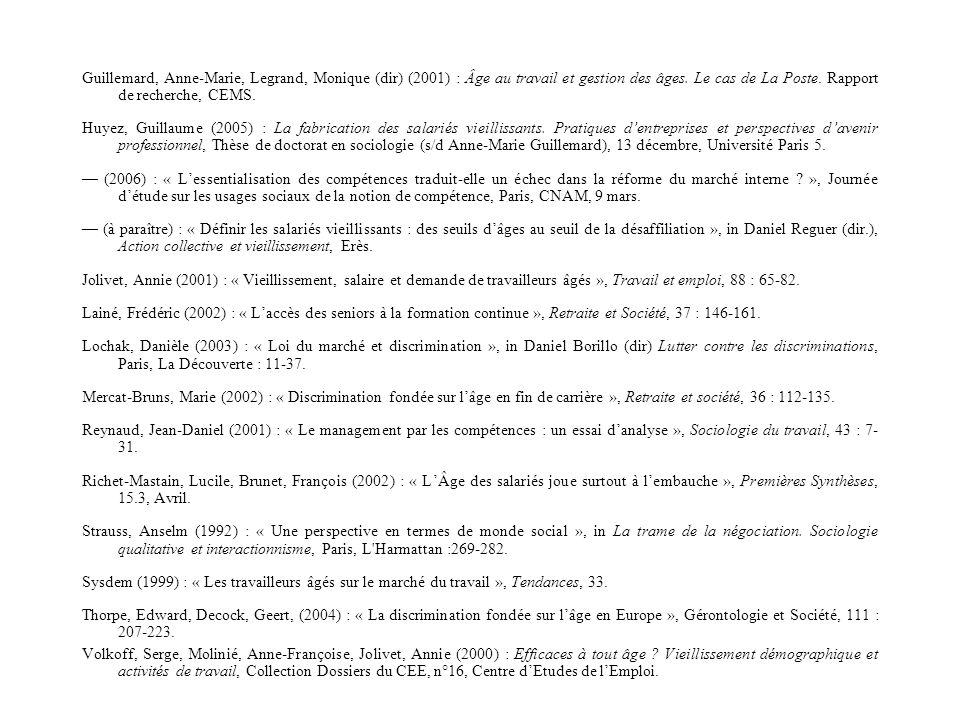 Guillemard, Anne-Marie, Legrand, Monique (dir) (2001) : Âge au travail et gestion des âges.