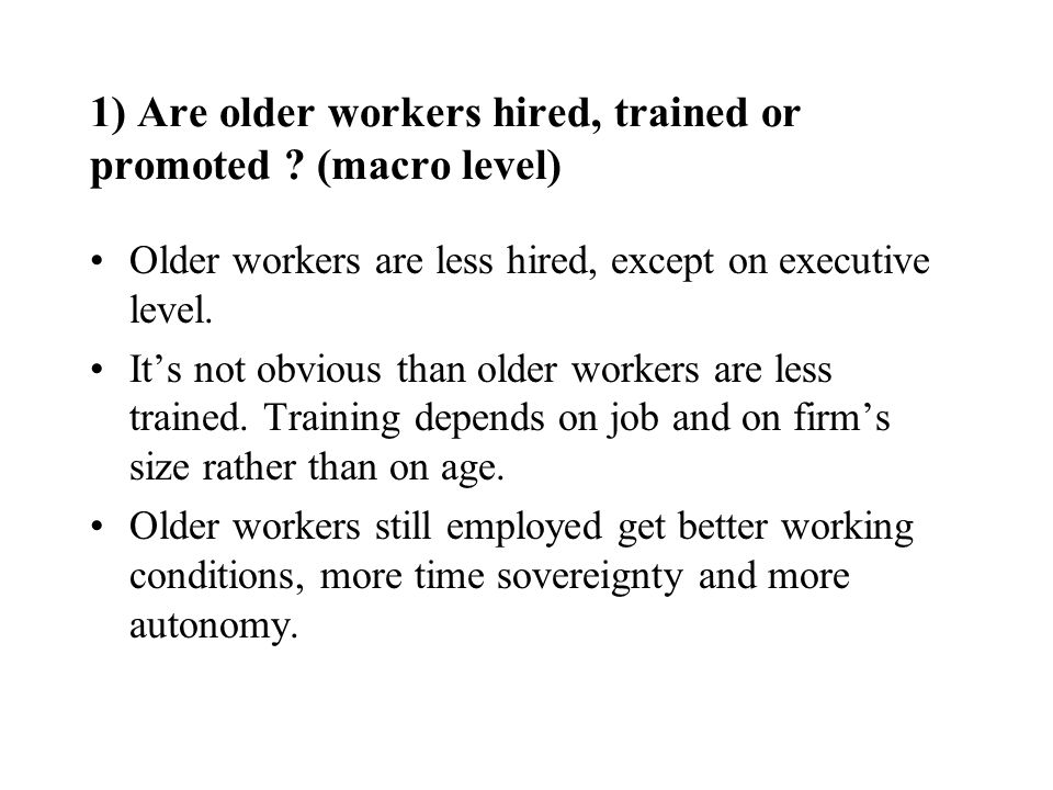 2) Neither managers nor wage-earners mention « age discrimination ».