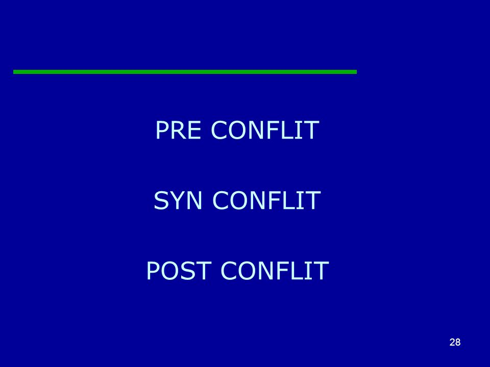 28 PRE CONFLIT SYN CONFLIT POST CONFLIT