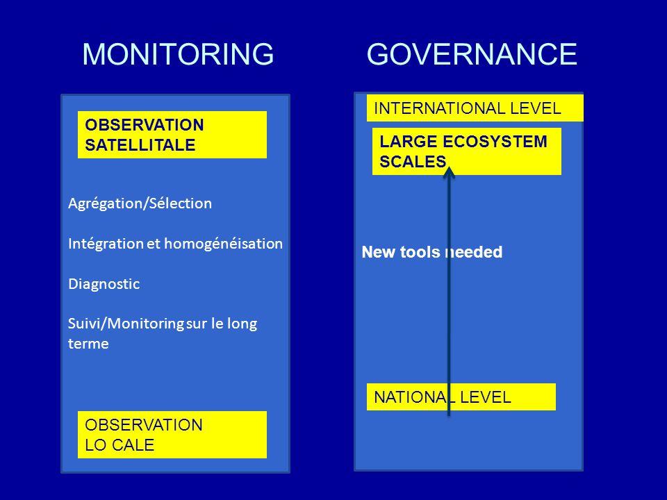 MONITORING Agrégation/Sélection Intégration et homogénéisation Diagnostic Suivi/Monitoring sur le long terme OBSERVATION LO CALE OBSERVATION SATELLITA