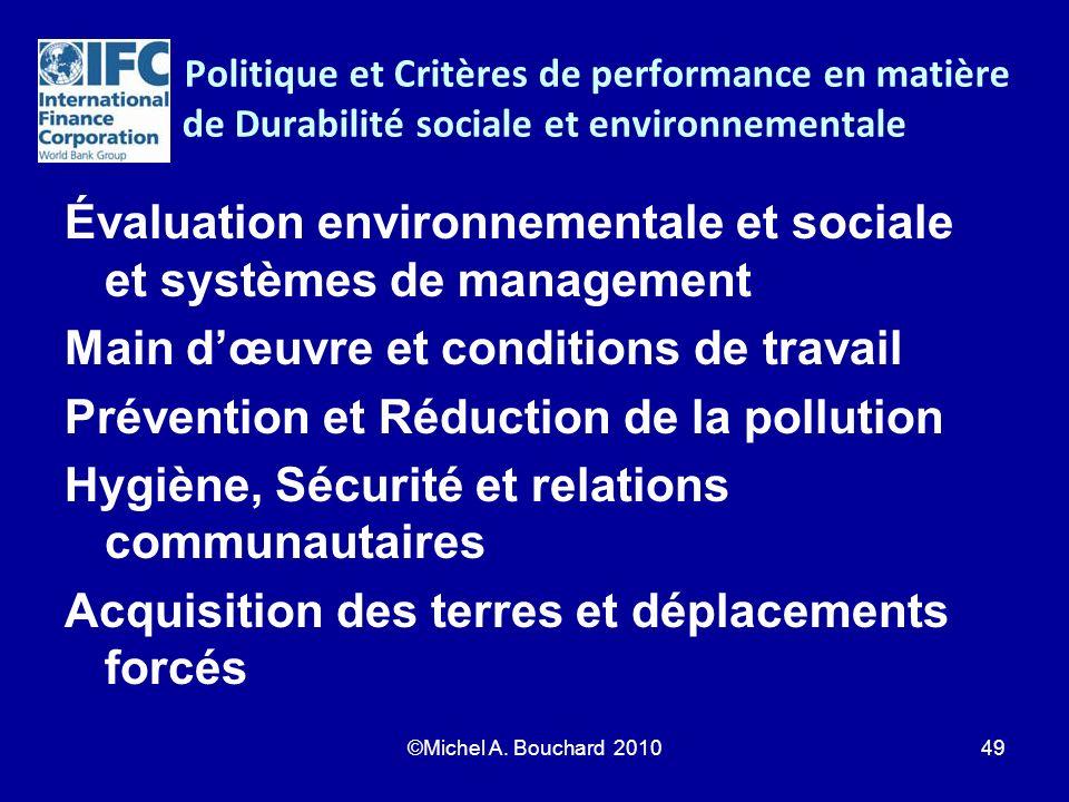 Politique et Critères de performance en matière de Durabilité sociale et environnementale Évaluation environnementale et sociale et systèmes de manage