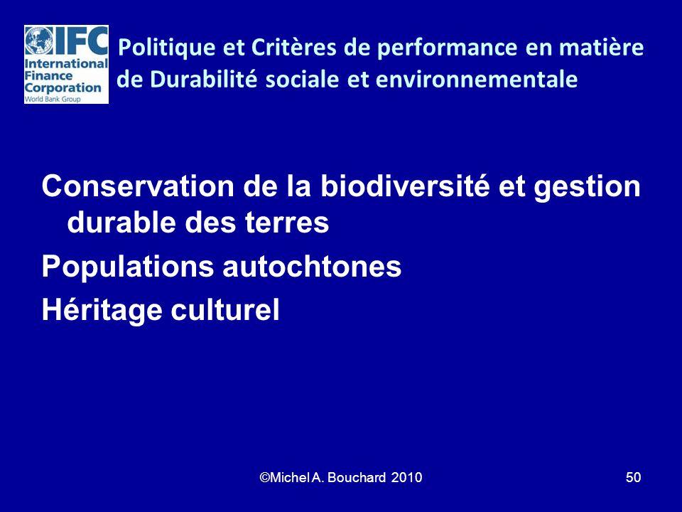 Politique et Critères de performance en matière de Durabilité sociale et environnementale Conservation de la biodiversité et gestion durable des terre