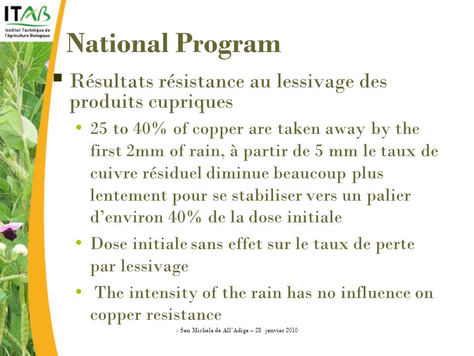 National Program Résultats résistance au lessivage des produits cupriques 25 to 40% of copper are taken away by the first 2mm of rain, à partir de 5 mm le taux de cuivre résiduel diminue beaucoup plus lentement pour se stabiliser vers un palier denviron 40% de la dose initiale Dose initiale sans effet sur le taux de perte par lessivage The intensity of the rain has no influence on copper resistance - San Michele de AllAdige – 28 janvier 2010