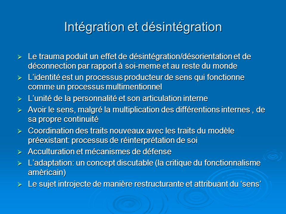 Intégration et désintégration Le trauma poduit un effet de désintégration/désorientation et de déconnection par rapport à soi-meme et au reste du monde Le trauma poduit un effet de désintégration/désorientation et de déconnection par rapport à soi-meme et au reste du monde Lidentité est un processus producteur de sens qui fonctionne comme un processus multimentionnel Lidentité est un processus producteur de sens qui fonctionne comme un processus multimentionnel Lunité de la personnalité et son articulation interne Lunité de la personnalité et son articulation interne Avoir le sens, malgré la multiplication des différentions internes, de sa propre continuité Avoir le sens, malgré la multiplication des différentions internes, de sa propre continuité Coordination des traits nouveaux avec les traits du modèle préexistant: processus de réinterprétation de soi Coordination des traits nouveaux avec les traits du modèle préexistant: processus de réinterprétation de soi Acculturation et mécanismes de défense Acculturation et mécanismes de défense Ladaptation: un concept discutable (la critique du fonctionnalisme amèricain) Ladaptation: un concept discutable (la critique du fonctionnalisme amèricain) Le sujet introjecte de manière restructurante et attribuant du sens Le sujet introjecte de manière restructurante et attribuant du sens