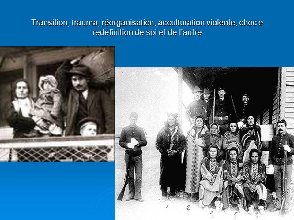Transition, trauma, réorganisation, acculturation violente, choc e redéfinition de soi et de lautre