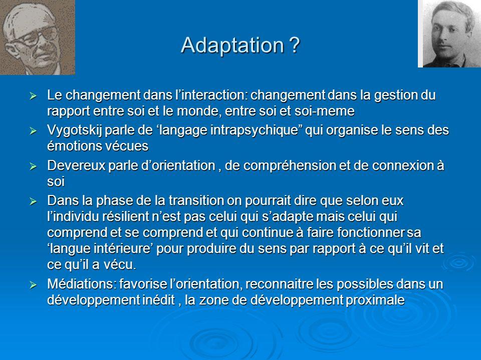 Adaptation ? Le changement dans linteraction: changement dans la gestion du rapport entre soi et le monde, entre soi et soi-meme Le changement dans li