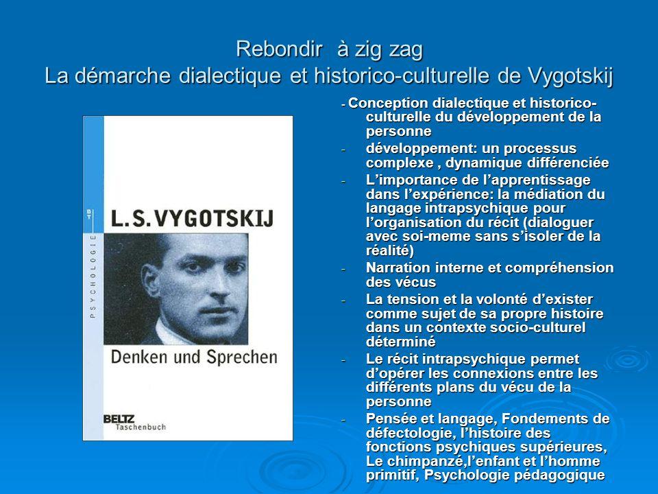 Rebondir à zig zag La démarche dialectique et historico-culturelle de Vygotskij - Conception dialectique et historico- culturelle du développement de