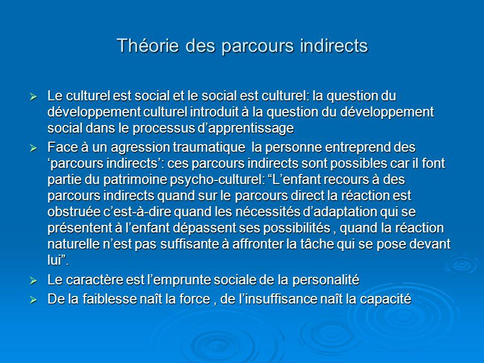 Théorie des parcours indirects Le culturel est social et le social est culturel: la question du développement culturel introduit à la question du déve
