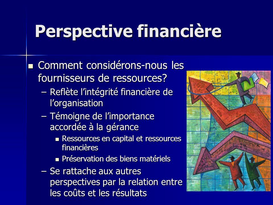 Perspective financière Comment considérons-nous les fournisseurs de ressources.