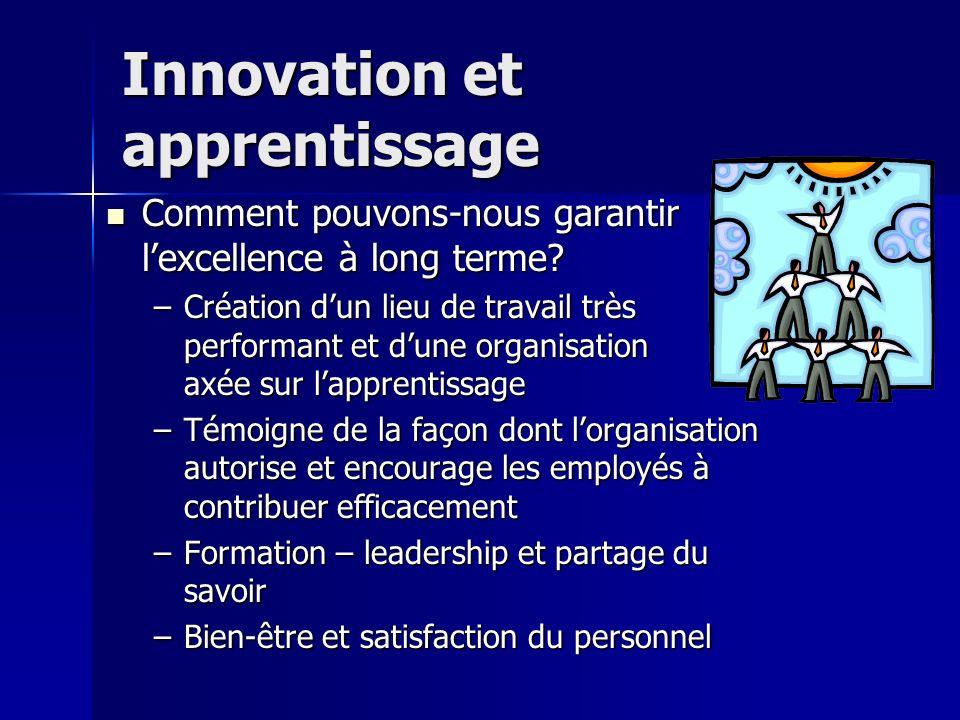 Innovation et apprentissage Comment pouvons-nous garantir lexcellence à long terme.