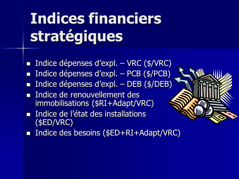 Indices financiers stratégiques Indice dépenses dexpl.