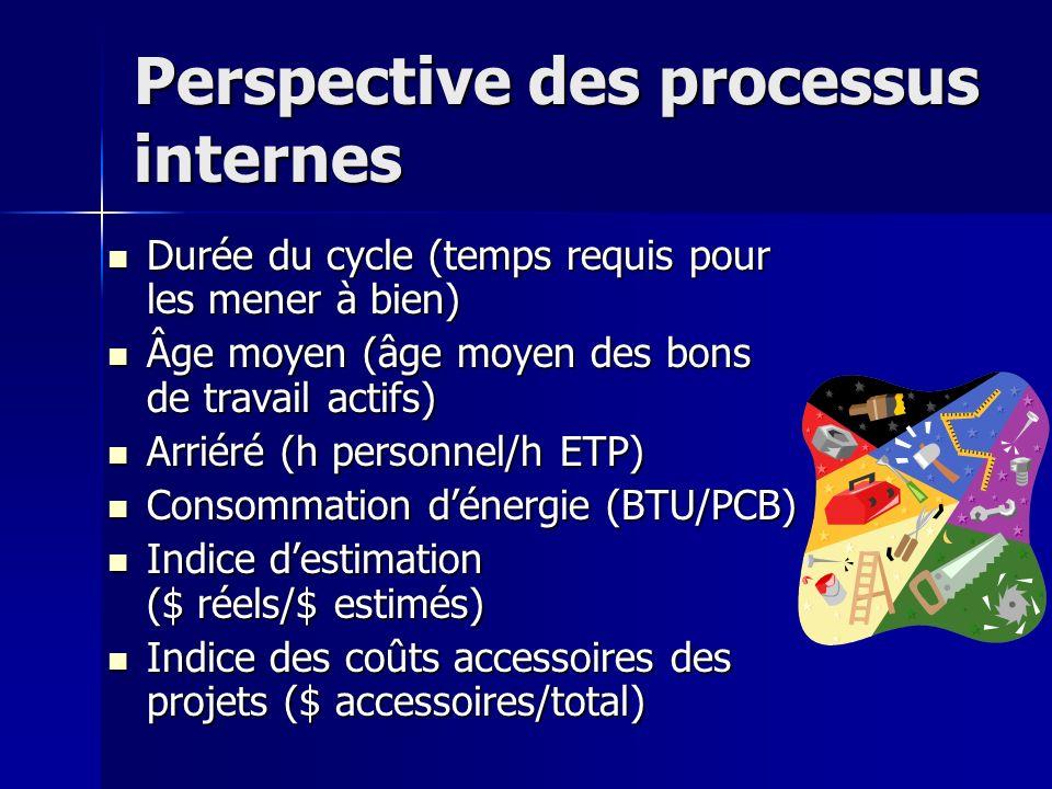 Perspective des processus internes Durée du cycle (temps requis pour les mener à bien) Durée du cycle (temps requis pour les mener à bien) Âge moyen (âge moyen des bons de travail actifs) Âge moyen (âge moyen des bons de travail actifs) Arriéré (h personnel/h ETP) Arriéré (h personnel/h ETP) Consommation dénergie (BTU/PCB) Consommation dénergie (BTU/PCB) Indice destimation ($ réels/$ estimés) Indice destimation ($ réels/$ estimés) Indice des coûts accessoires des projets ($ accessoires/total) Indice des coûts accessoires des projets ($ accessoires/total)