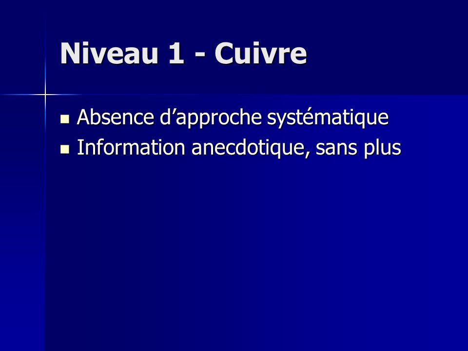Niveau 1 - Cuivre Absence dapproche systématique Absence dapproche systématique Information anecdotique, sans plus Information anecdotique, sans plus