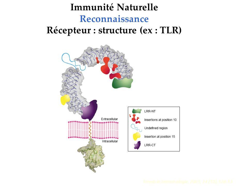 Trends in Immunologie, 2003, 24 (10), 528-33 Immunité Naturelle Reconnaissance Récepteur : structure (ex : TLR)