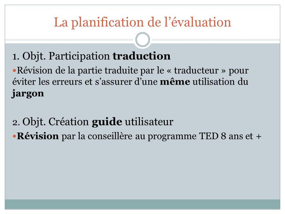 La planification de lévaluation 1. Objt. Participation traduction Révision de la partie traduite par le « traducteur » pour éviter les erreurs et sass