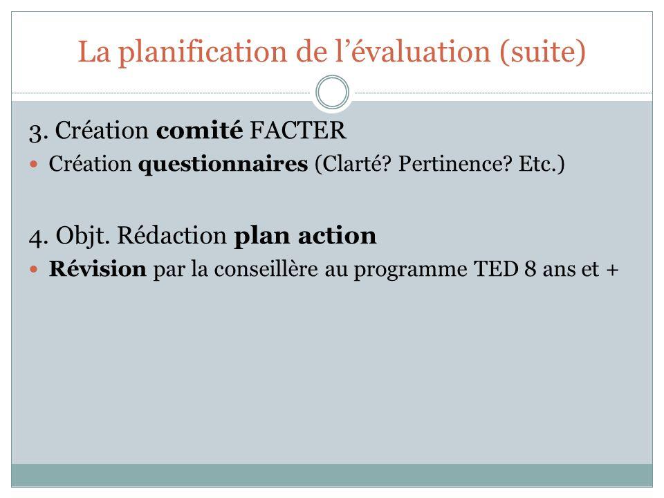La planification de lévaluation (suite) 3. Création comité FACTER Création questionnaires (Clarté.