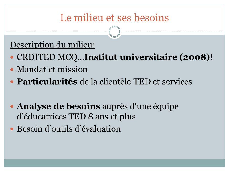 Le milieu et ses besoins Description du milieu: CRDITED MCQ…Institut universitaire (2008)! Mandat et mission Particularités de la clientèle TED et ser