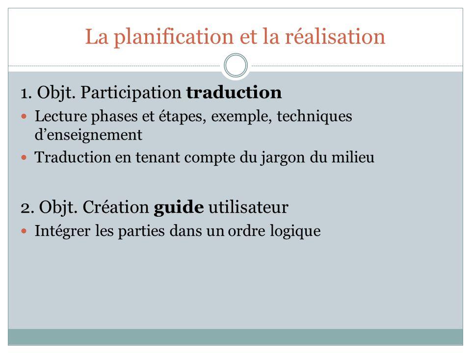 La planification et la réalisation 1. Objt. Participation traduction Lecture phases et étapes, exemple, techniques denseignement Traduction en tenant