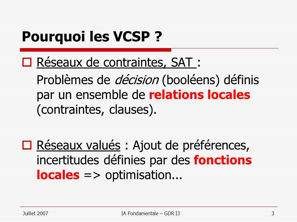 Juillet 2007IA Fondamentale – GDR I314 Recherche systématique (LB) Minorant (UB) Majorant Si alors couper variables Sous estimation de la meilleure solution dans le sous-arbre = meilleure solution connue Chaque nœud est un sous-problème VCSP LBf = f = T UBT