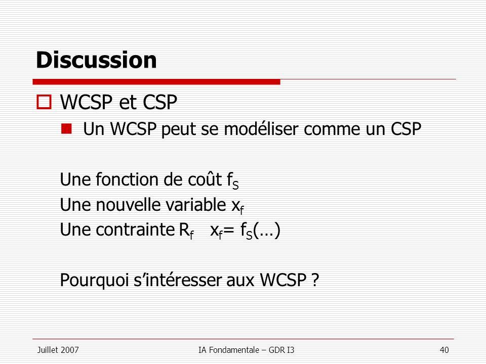Juillet 2007IA Fondamentale – GDR I340 Discussion WCSP et CSP Un WCSP peut se modéliser comme un CSP Une fonction de coût f S Une nouvelle variable x