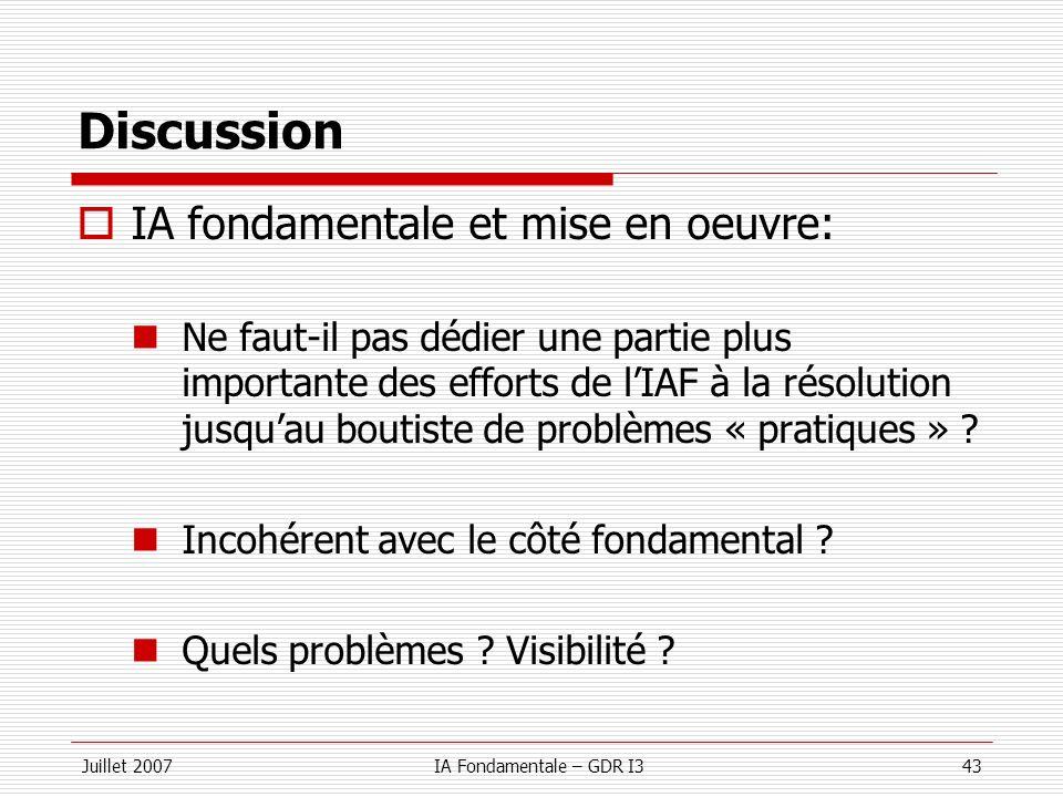 Juillet 2007IA Fondamentale – GDR I343 Discussion IA fondamentale et mise en oeuvre: Ne faut-il pas dédier une partie plus importante des efforts de l