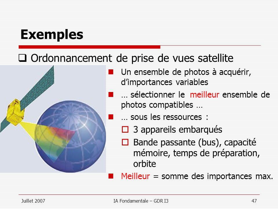 Juillet 2007IA Fondamentale – GDR I347 Exemples Un ensemble de photos à acquérir, dimportances variables … sélectionner le meilleur ensemble de photos