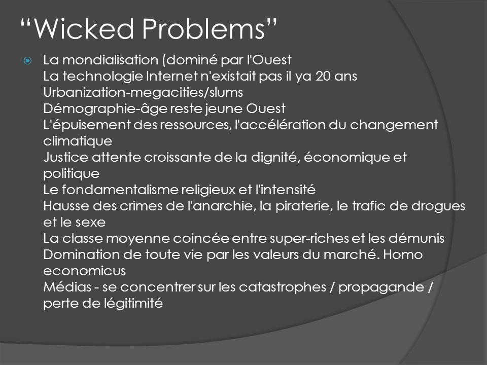Wicked Problems La mondialisation (dominé par l'Ouest La technologie Internet n'existait pas il ya 20 ans Urbanization-megacities/slums Démographie-âg