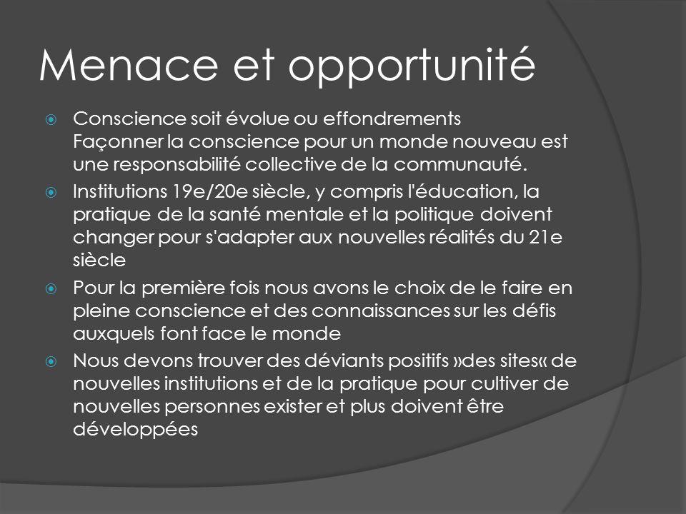 Menace et opportunité Conscience soit évolue ou effondrements Façonner la conscience pour un monde nouveau est une responsabilité collective de la communauté.