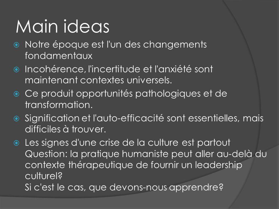 Main ideas Notre époque est l'un des changements fondamentaux Incohérence, l'incertitude et l'anxiété sont maintenant contextes universels. Ce produit