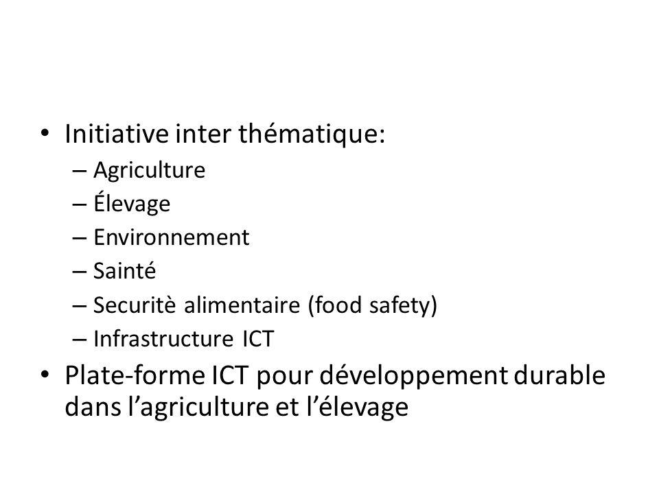 Initiative inter thématique: – Agriculture – Élevage – Environnement – Sainté – Securitè alimentaire (food safety) – Infrastructure ICT Plate-forme ICT pour développement durable dans lagriculture et lélevage