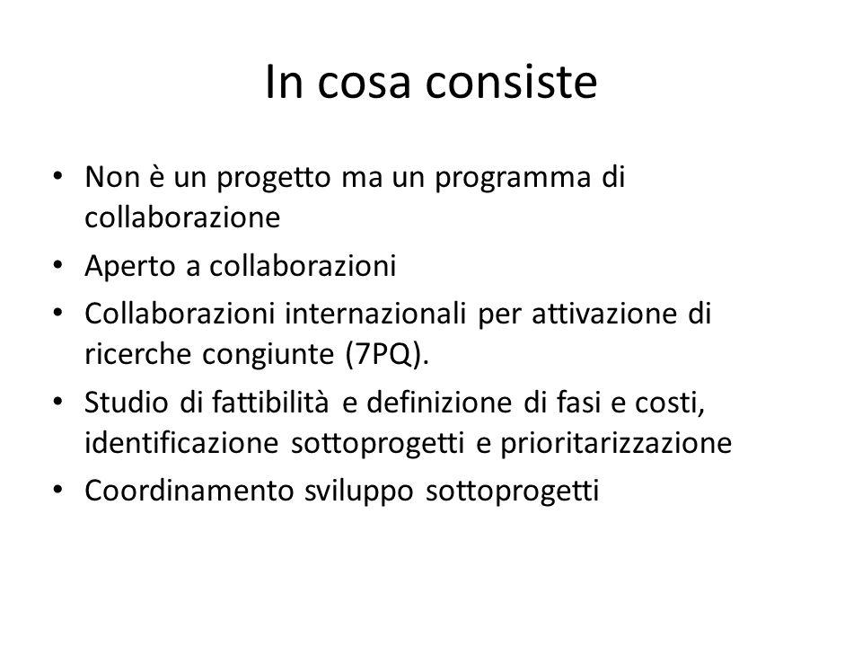 In cosa consiste Non è un progetto ma un programma di collaborazione Aperto a collaborazioni Collaborazioni internazionali per attivazione di ricerche congiunte (7PQ).