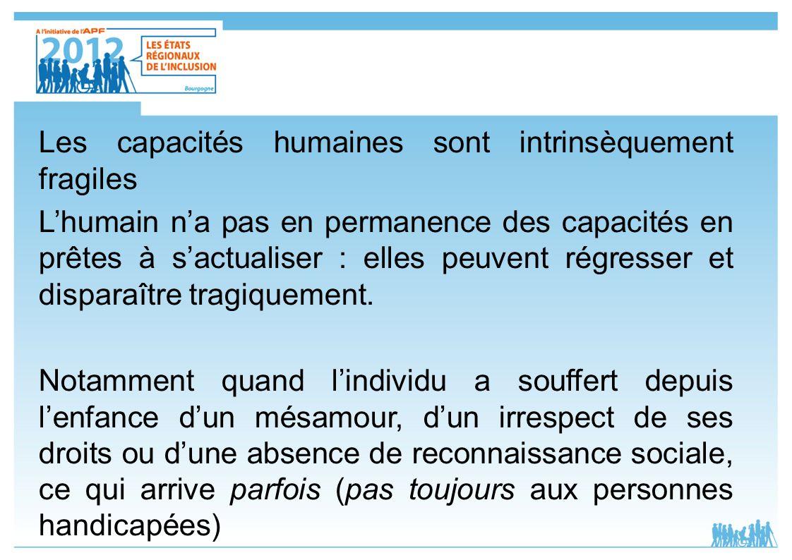 Les capacités humaines sont intrinsèquement fragiles Lhumain na pas en permanence des capacités en prêtes à sactualiser : elles peuvent régresser et d