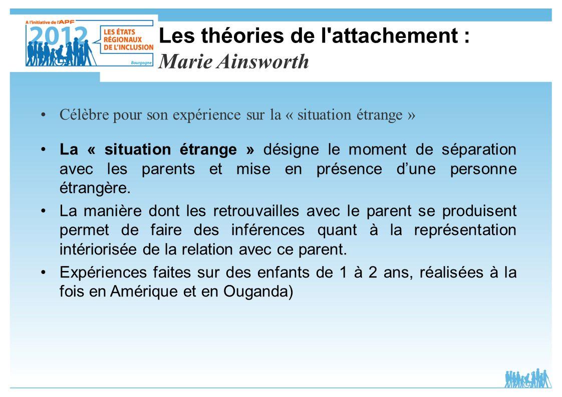 Les théories de l'attachement : Marie Ainsworth Célèbre pour son expérience sur la « situation étrange » La « situation étrange » désigne le moment de