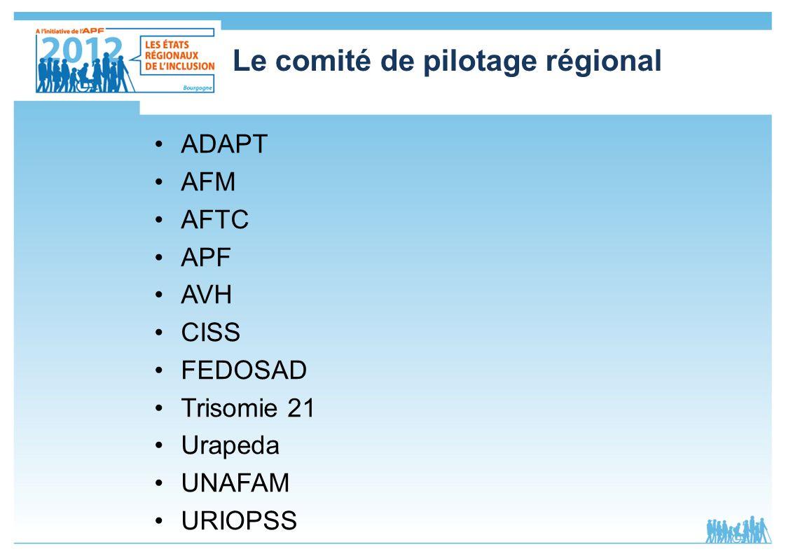Le comité de pilotage régional ADAPT AFM AFTC APF AVH CISS FEDOSAD Trisomie 21 Urapeda UNAFAM URIOPSS