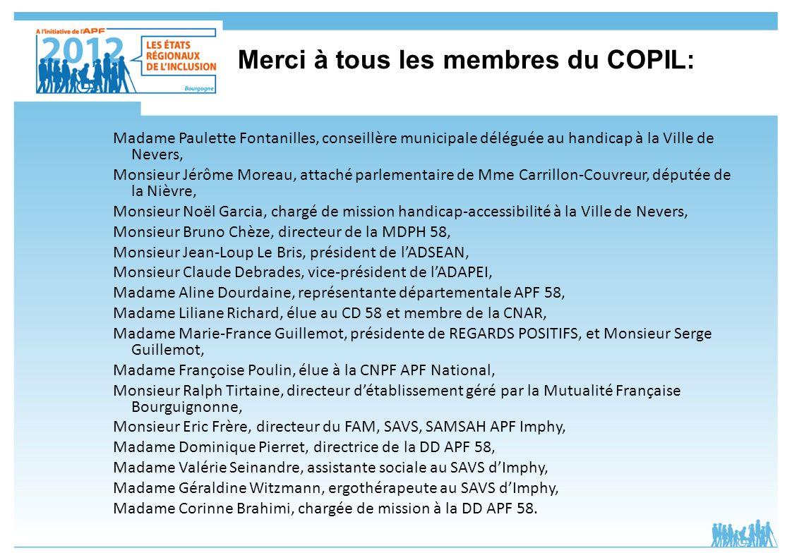 Merci à tous les membres du COPIL: Madame Paulette Fontanilles, conseillère municipale déléguée au handicap à la Ville de Nevers, Monsieur Jérôme More