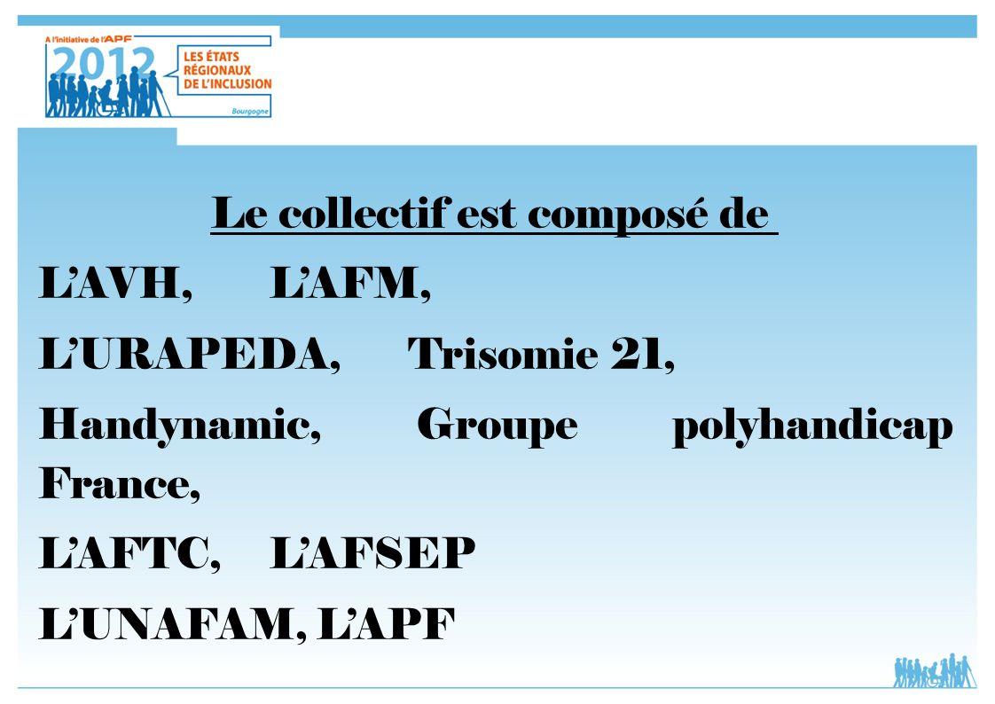 Le collectif est composé de LAVH, LAFM, LURAPEDA, Trisomie 21, Handynamic, Groupe polyhandicap France, LAFTC,LAFSEP LUNAFAM, LAPF